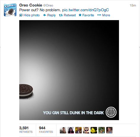 Oreo Tweet 2013 Super Bowl